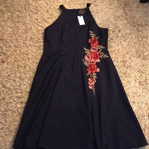 Navy dress with flowers